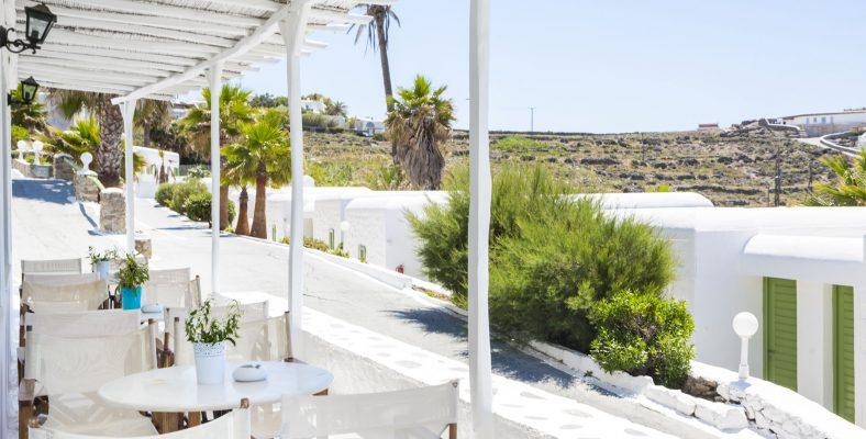 Photoshooting Mykonos Beach Hotel in Mykonos island , Greece Life think